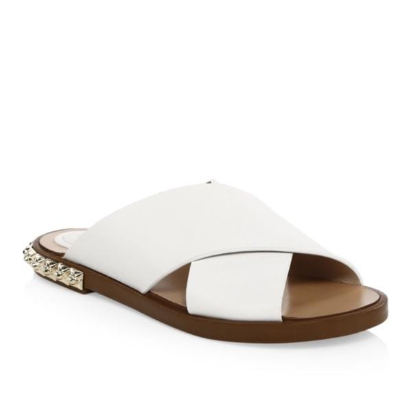 da627c33395a Stuart Weitzman Rockrose Leather Slide Sandal WHT